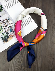 Fashion Navy Bags Pattern Decorated Small Scarf