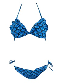 Sexy Blue Fish Scale Shape Design Slipt Bikini