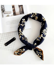 Fashion Navy Flower Pattern Decorated Small Scarf