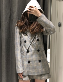 Fashion Gray Grid Pattern Decorated Simple Coat