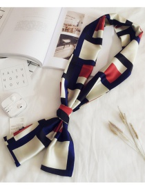 Fashion Navy Grids Pattern Decorated Scarf