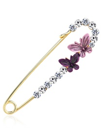 Fashion Purple Butterfly Shape Decorated Brooch