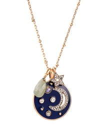 Fashion Moon-4 Pearl-studded Embossed Moon Shape Pendant Necklace