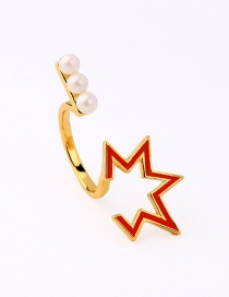 Fashion Red-1 Star Shape Pearl Opening Ring