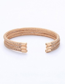 Fashion Gold Multi-layer Geometric Diamond Opening Bracelet