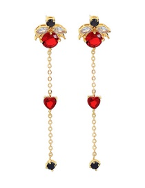 Fashion Gold + Red 925 Silver Needle Crystal Heart Stud Earrings