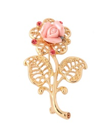 Fashion Gold Electroplated Openwork Flower With Diamond Brooch