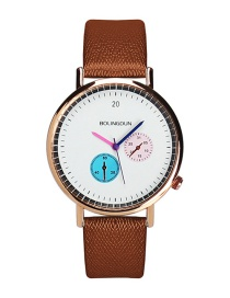 Fashion Coffee Colour Needle Decorated Simple Watch