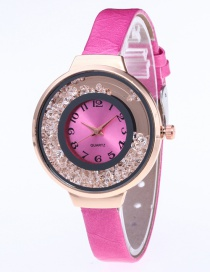 Fashion Plum Red Diamond Decorated Pure Color Strap Watch