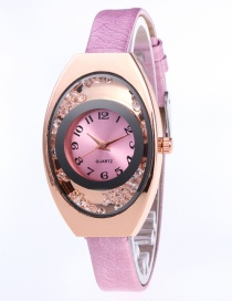 Fashion Pink Arc Shape Dial Design Pure Color Strap Watch