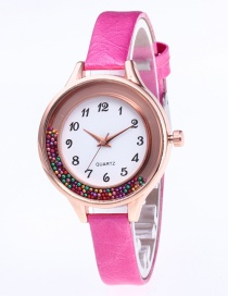 Fashion Plum Red Colored Balls Decorated Leisure Watch