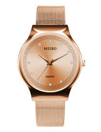 Fashion Rose Gold Pure Color Decorated Diamond Watch