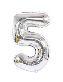 Fashion Silver Color Thin Edition Design Letter 5 Shape Balloon