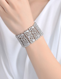 Fashion Silver Color Full Diamond Decorated Bracelet