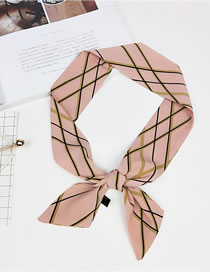 Fashion Pink Grids Pattern Decorated Scarf