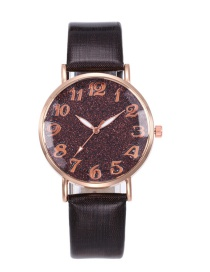 Fashion Coffee Starry Sky Pattern Design Round Dial Watch