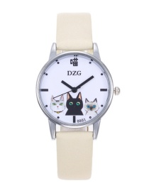 Fashion Beige Cats Decorated Round Dial Watch