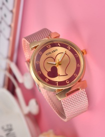 Fashion Rose Gold Heart Pattern Decorated Women's Watch