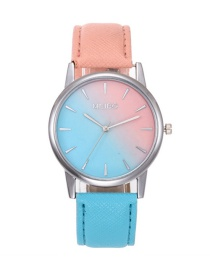 Fashion Blue+pink Color-matching Decorated Women's Watch