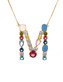 Fashion Multi-color M Shape Design Full Diamond Nekclace