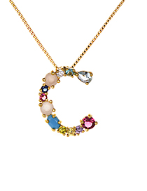 Fashion Multi-color C Shape Design Full Diamond Nekclace