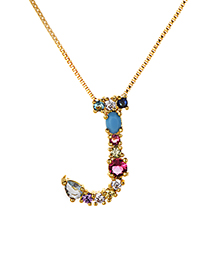 Fashion Multi-color J Shape Design Full Diamond Nekclace