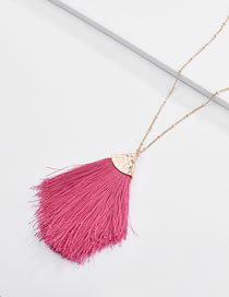 Fashion Plum Red Tassel Decorated Necklace