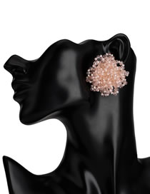 Fashion Pink Pure Color Decorated Earrings