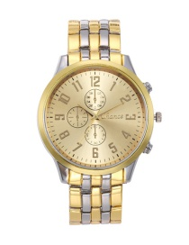 Fashion Gold Color Round Shape Dial Decorated Watch