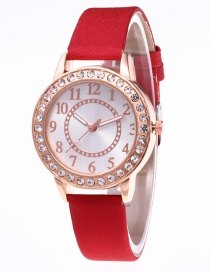 Fashion Red Diamond Decorated Watch