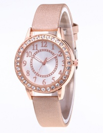 Fashion Beige Diamond Decorated Watch