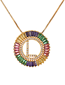 Fashion Multi-color L Letter Shape Decorated Necklace