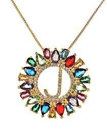 Fashion Multi-color Full Diamond Decorated J Letter Shape Necklace
