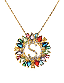 Fashion Multi-color Full Diamond Decorated S Letter Shape Necklace