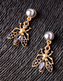 Fashion Gold Color Insect Shape Decorated Earrings
