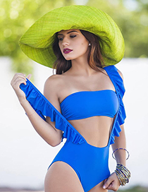 Fashion Blue Pure Color Decorated Swimwear