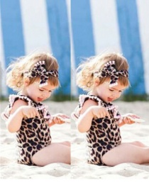 Fashion Brown Leopard Pattern Decorated Swimwear For Kids