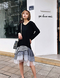 Fashion Black+white Stripe Pattern Decorated Long Sleeves Dress