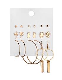 Fashion Gold Alloy Geometry Coconut Leaf Pineapple Stud Earring Set