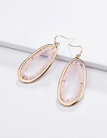 Fashion Pink Alloy Geometry Hollow Crystal Glass Beads Woven Earrings