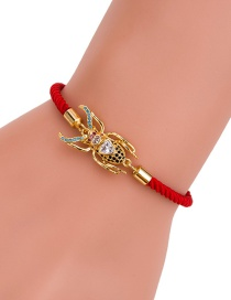 Fashion Gold Diamond-enhanced Adjustable Red Rope Woven Bracelet