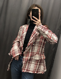 Fashion Red And White Plaid Jeweled Tweed Jacket
