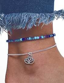 Fashion Silver + Blue Openwork Leaves Decorated Bracelet