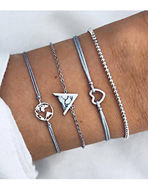 Fashion Earth + Love Open Turquoise Triangle Hollow Map Love Beaded Bracelet Four-piece