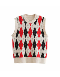 Fashion Beige Rhombus Jacquard Round Neck Core Yarn Vest