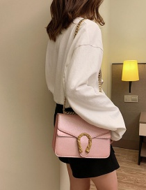 Fashion Pink Chain Lock Single Shoulder Slung Small Square Bag