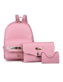 Fashion Pink Three-piece Pure Color Backpack