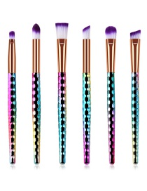 Fashion Color 6 Honeycombs - Colorful - Eye Brush - White Purple Hair