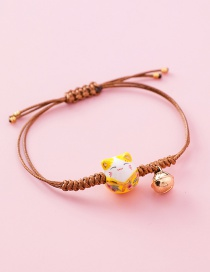 Fashion Woven Large Cat (light Brown) Weaving Lucky Cat Tassel Bracelet
