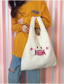 Fashion White Embroidered Pig Shoulder Bag